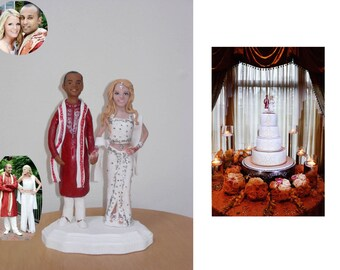 Look Alike Interracial Bride & Groom Clay Portrait Sculpture, Personalized Cake Topper - Custom Made to order