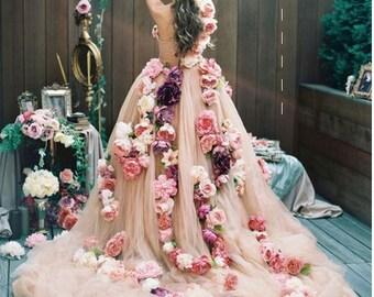 Large bohemian bride dress flowers, rose dream, gypsy art dress,boho accessories,Bridal Flowers Dress,trade shows, BohoFlowers, bridal guide