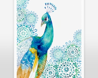 ART PRINT / Peacock, bird art, exotic bird, peacock decor, peacock nursery