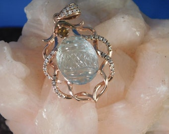March Birthstone 4.90 ct. Carved Aquamarine and Diamond Pendant 10K Rose Gold