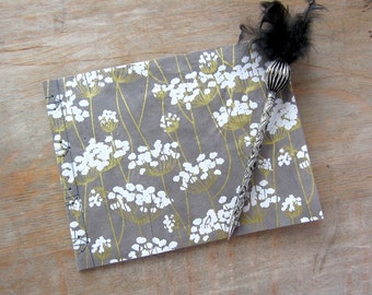 Softcover Guest Book, Grey Floral with unlined pages, Ready to Ship