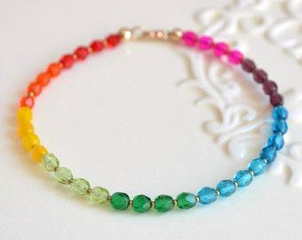Bright Rainbow Bracelet, Beaded Jewelry, Colorful Czech Glass Beads, Gift for Women, Fun Summer Jewelry