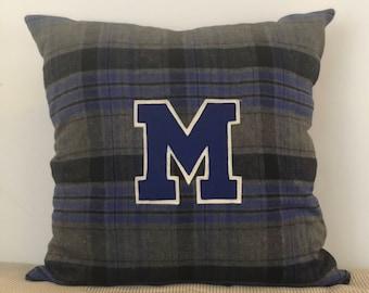 """Vintage """"M"""" Letterman Patch Pillow"""