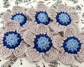 Crochet Gray and Blue Flower Appliques