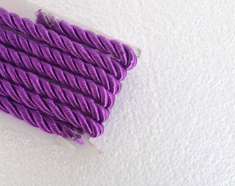 1.1 yards purple , 5 mm twist cord, twisted , Wrapped Thread Cord, Satin Twisted cord , Decoration,Fabric Rope Trim Accent for Crafting