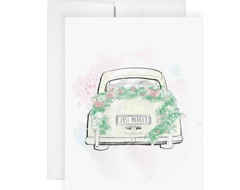 Just Married - Greeting Card, Love Card, Art Card, Fashion Illustration, Wedding Card, Love, Stationery