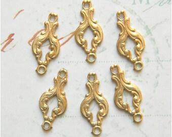 12 pcs. Brass Connector, Brass link, Brass Finding, Raw Brass Stamping, Victorian Link, 6mm x 16mm - (r193)