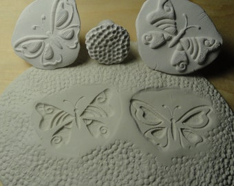 Butterfly Texture Tools Set - 3 Handmade Clay stamps for pottery -  #8
