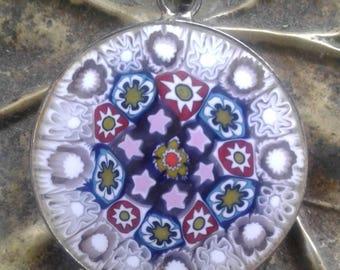Murano Glass Colorful Disk Pendant
