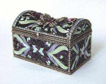 Butterfly Trunk Swarovski Crystals Trinket, Keepsake, Pill Box