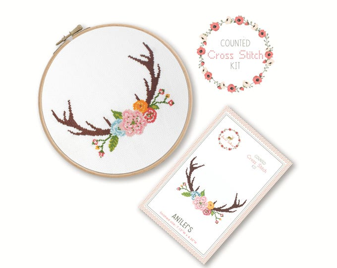 Counted Cross Stitch Kit - Antlers / boho cross stitch pattern, craft kit, embroidery, gift, fun, dmc, supplies, handmade, tribal