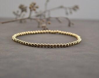 3 mm Gold Stackable Bracelet, Stacking Bracelet, Stretch Bracelet, Gold Beaded Bracelet, Gold Filled Bracelet, Gold Bracelet, Handmade