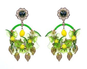 Lemon Earrings, Yellow Lemon Earrings, Handmade lemon jewelry, Yellow citrus jewellery, Fruit earrings, citrus earrings, Sicilian Hand Made