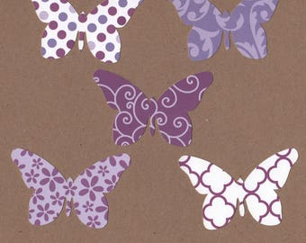25 - 2 inch tall Butterfly Die Cuts for Paper Crafts Purple Prints  Set 15