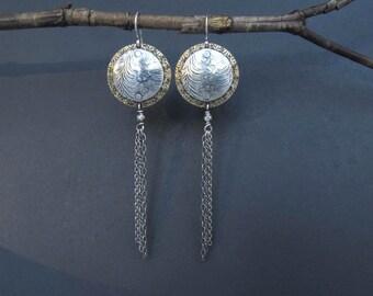 Mixed Metal Earrings Sterling Silver and Brass Chain Earrings Artisan Metalsmith OOAK