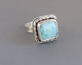 Larimar Square Ring Oxidized Double Twisted Bezel Setting Unique Design