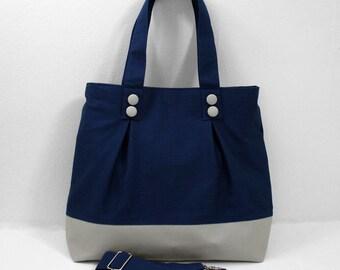 Classic tote bag in indigo blue and light gray -- diaper bag | travel bag | laptop bag | school bag
