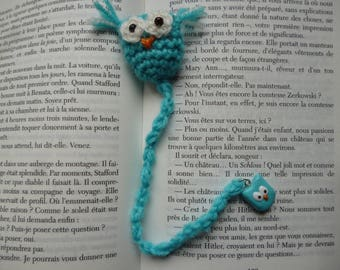 OWL bookmark crocheted by hand and his little OWL in polymer clay