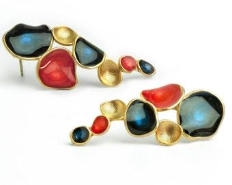 Boucles d'oreilles bleu foncé rouge Boucles d'oreilles or boucles d'oreilles pour femmes, bijoux émail multicolore boucles d'oreilles bijoux déclaration en cascade