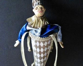 Jester Ornament, Mardi Gras Jester, Vintage Monkey Ornament, Wayne Kleski Style Ornament, Christmas Ornament, Blue and Gold Ornament