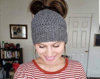 Messy Bun Beanie; hat; beanie; Messy Bun Hat; Messy bun beanie hat