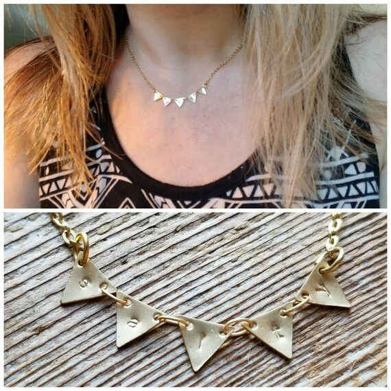 Salty necklace custom stamped necklace in gold, matte gold or shiny silver