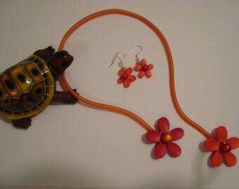 Fleur Rouge and Orange jewelry set