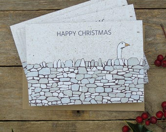 Drystone Wall Goose Christmas Cards, Pack of 5