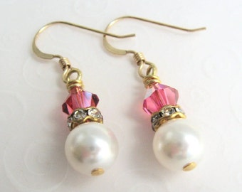 Pink and White Earrings, Crystal and Pearl Dainty Gold Earrings, Small Dangle Earrings, Faux Pearl Drop Earrings, Bridal Jewelry