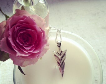 Necklace pendant arrowhead white metal boho
