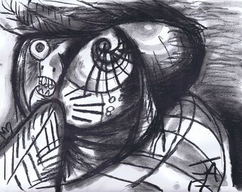 Faces from Jackson Pollock's untitled sketch book drawings