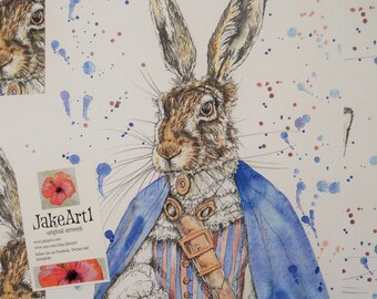 Hare, Steampunk, art print, fantasy wildlife, animals in clothes, dressed up hare, fantasy hare, gift for him, gift for her, steampunk art
