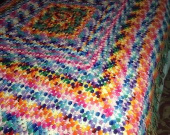 Brilliant RAINBOW AFGHAN Crocheted Bedspread Extra Large Jewel Tone