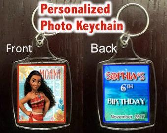 Moana Party- Personalized Photo Keychain Party Favor, Photo Keychain, Moana Themed Party Keychains. Clear Acrylic Keychain.
