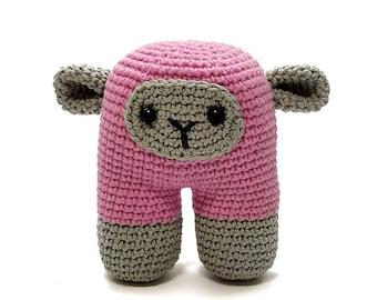crochet amigurumi sheep toy, interior sheep, miniature sheep toy, pink two-legs sheep, cute stuffed sheep, stuffed animal