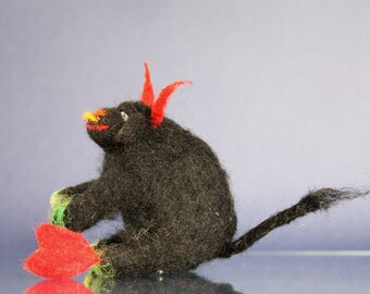 Needle felted Black Bull with red heart, love gift, beast totem, waldorf toy, needler felted, black, romantic gift, whimsical proposal,  fun