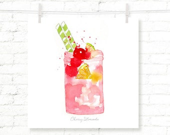 Cherry - Limeade - Pink - Lemonade - Cocktail - Drink - Watercolor - Art Print - Wall Art