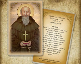 St. Lawrence of Brindisi Holy Card orWood Magnet #0302