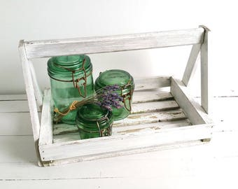 Old farmhouse wooden basket * French vintage home decor * wooden tray * vintage harvest basket with handle