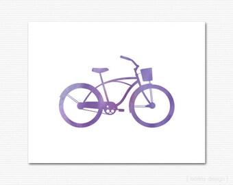 Bike Print Purple Watercolor Bike Wall Art Home Decor Office Decor Bicycle Print Bicycle Wall Art Printable Digital 8x10 Minimalistic Modern