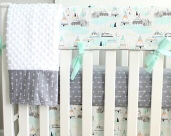 Boy Crib Bedding Set. Woodland Mint Gray Teepee Indian summer Rail Cover Nursery Set