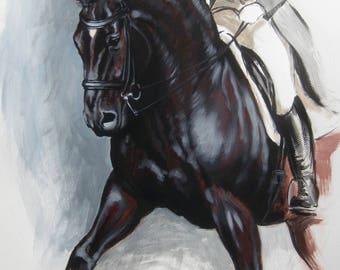 Beautiful Equine horse art horse gift wall art home decor dressage horse print 'Push' from an original oil sketch