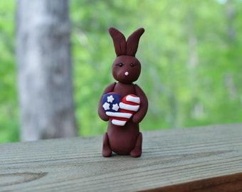 Patriotic Bunny Figurine - Polymer Clay Rabbit Figurine - Bunny Holding a Heart - Handmade Bunny Sculpture - Patriotic Rabbit Sculpture