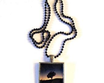 Joshua Tree California - Photo Pendant - Necklace - Blue Sunset - Black Ball Chain