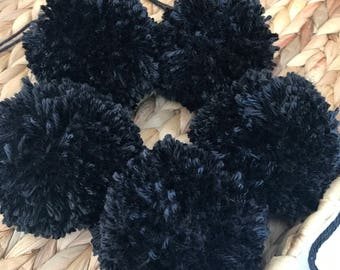 Black Yarn Pom Poms Halloween, Extra Large, Set of 5