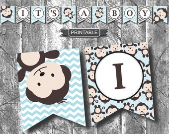 DIY Baby Blue Monkey Baby Shower Decorations Banner Printable PDF Instant Download- It's A Boy