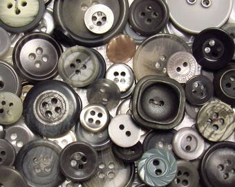 The Gray Button Assortment: A Variety Mix of 125 Vintage to Contemporary Buttons