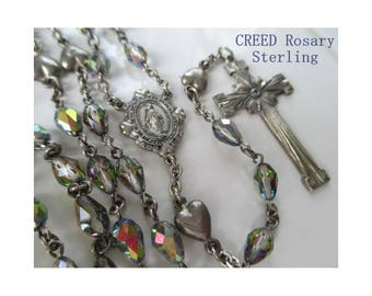 CREED Rosary * Sterling * Heart Accent * Aurora Borealis Beads *  Mary Medal * Vintage Prayer Beads