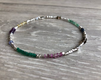 Trinket gemstone and karen hill tribe silver anklet