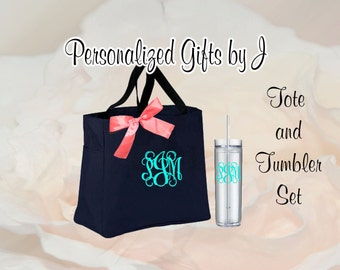 6 Bridesmaid Gift Tote and Tumbler Set, Personalized Wedding  Bags and Tumblers, Embroidered Tote - Maid of Honor Gift, Skinny Tumbler